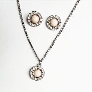 BNWT Silver & Pastel Pink Rhinestone Jewelry Set